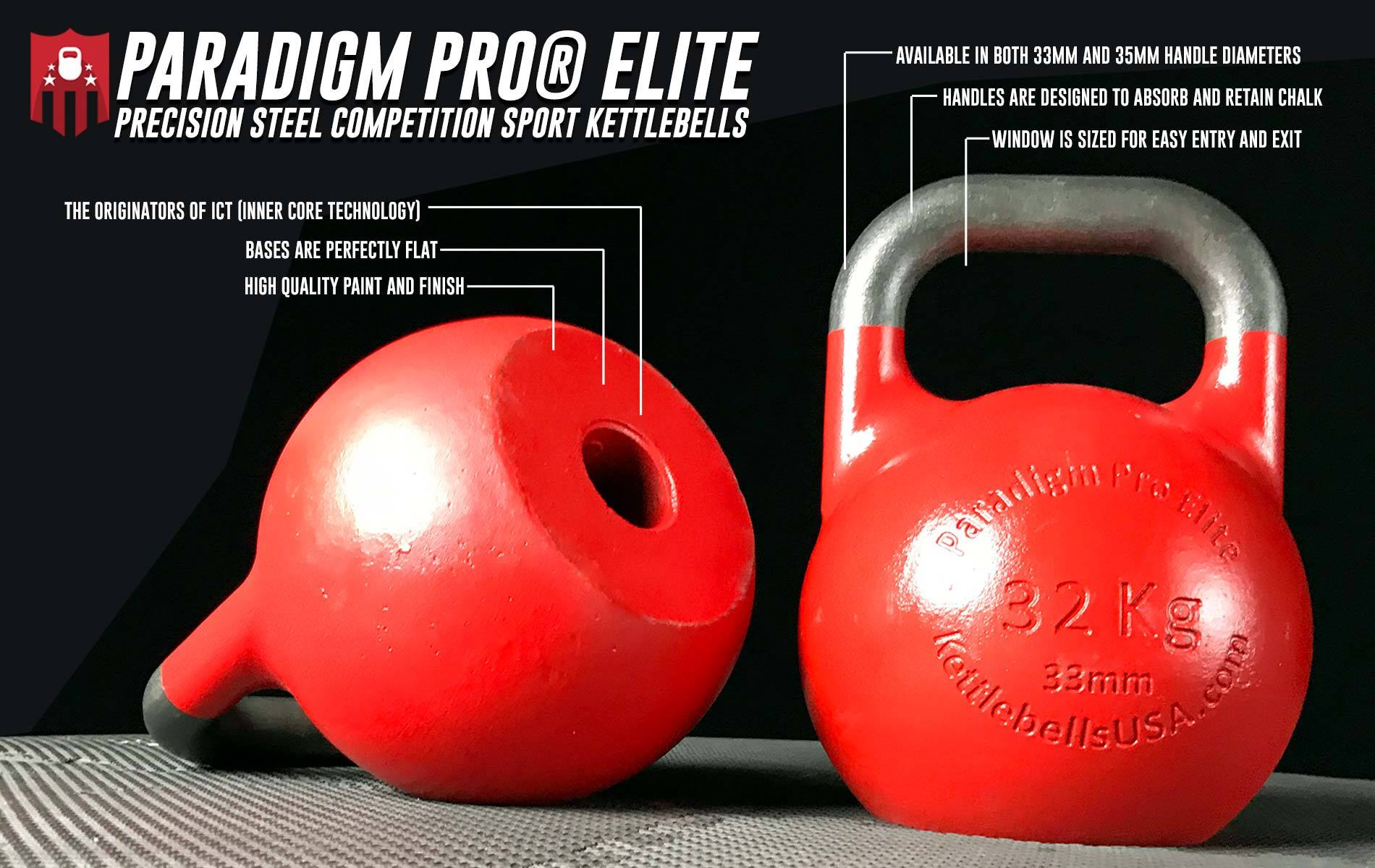 Paradigm Pro® Elite Precision Inner Core Technology Competition Sport Kettlebells 33mm 35 mm handle free shipping